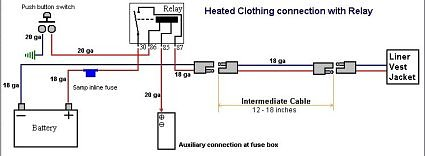 heated gear do it yourself st1100 st1300 note the pins 86 and 85 activate the relay s internal switch little current is needed for these pins a 20ga wire is adequate